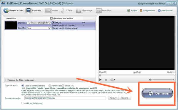 Commencer à convertir DVD en vidéo