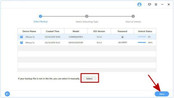 Sélectionner le fichier sauvegarde iTunes