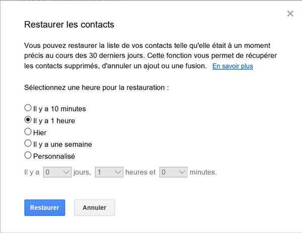 recuperer contact google
